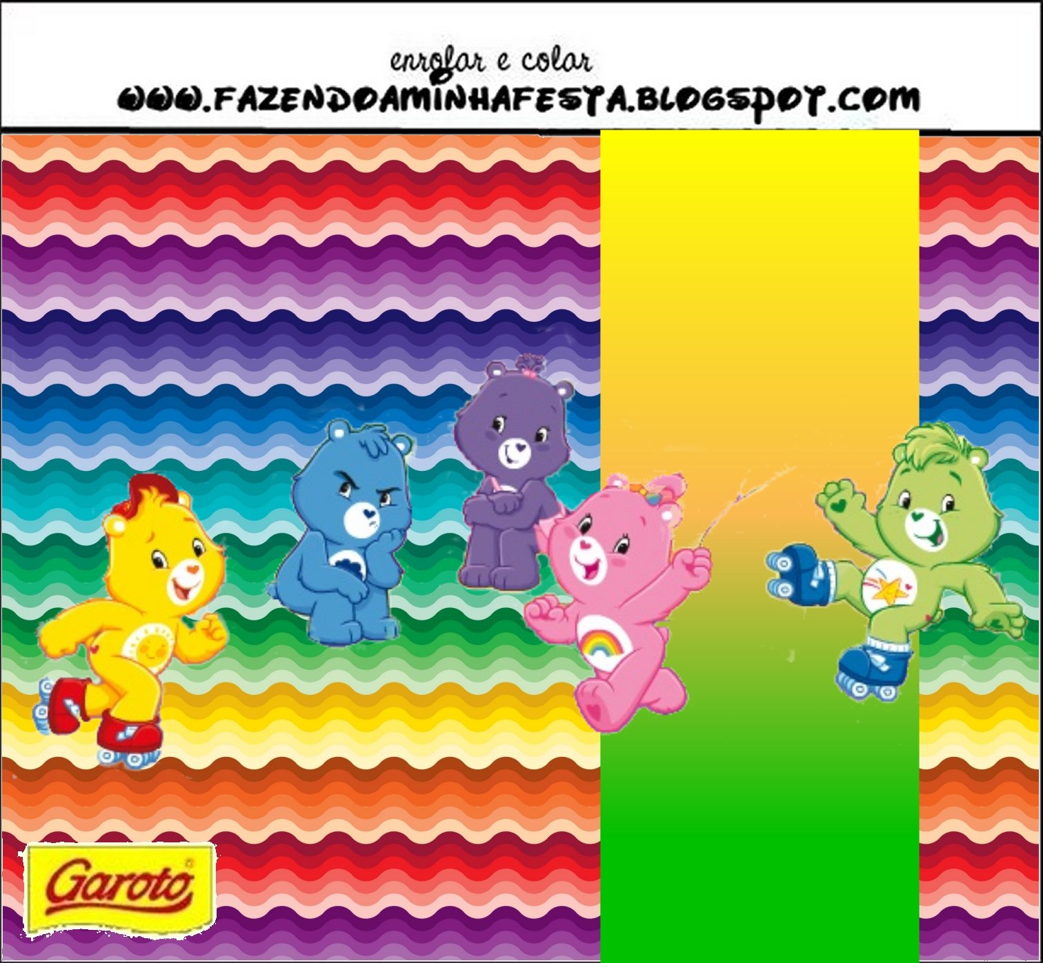 Care Bears With Rainbow Free Printable Candy Bar Labels