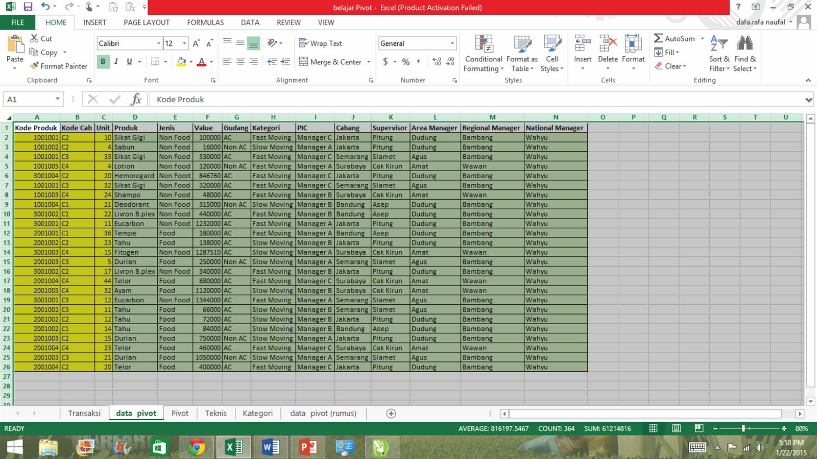 Tutorial Pivot Excel Sederhana