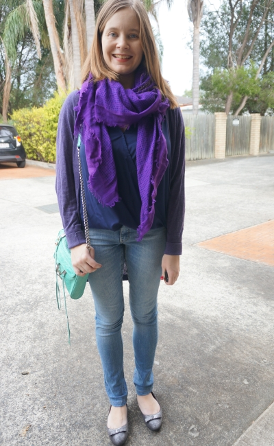 Navy wrap top purple cardi and scarf skinny jeans aquamarine bag | Away From Blue Winter Style
