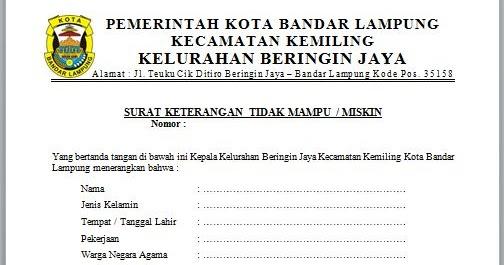Contoh Surat Keterangan Tidak Mampu Untuk Beasiswa