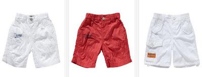 Bermudas en color rojo o blanco para bebés niños