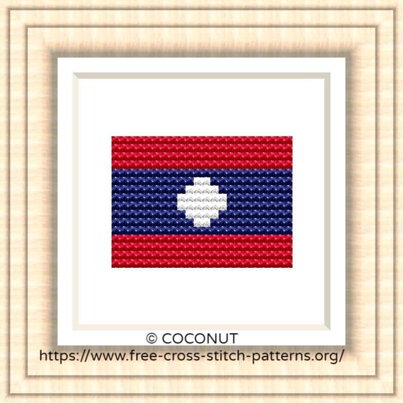 NATIONAL FLAG OF LAOS CROSS STITCH CHART