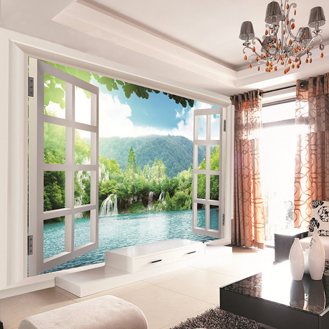 Mural wallpaper for home Custom 3D Window Waterfalls landscape Forest View Mural Living room Bedroom Hallway