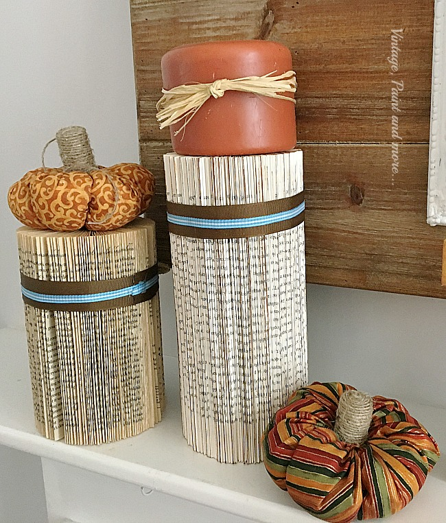 Vintage,Paint and more... diy paper columns with little fabric pumpkins with twine stems