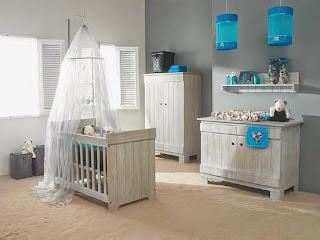 habitación bebé gris turquesa