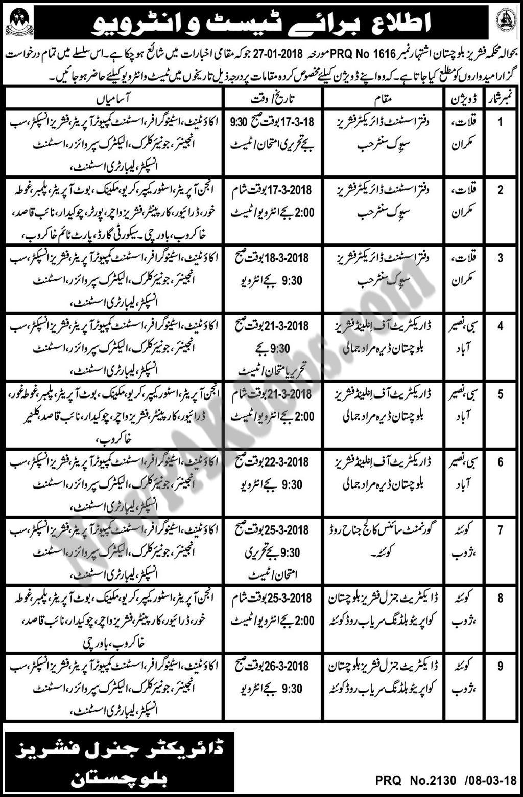 Baluchistan Fisheries Department Interview Schedule PRQ No 1616 March 2018