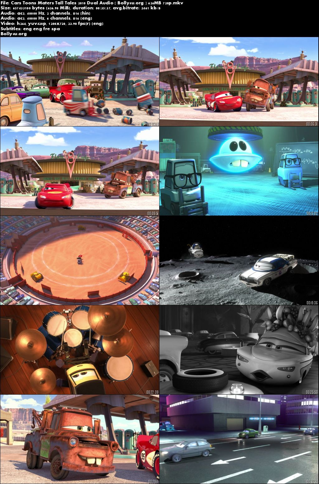 Cars Toons Maters Tall Tales 2010 BRRip 600Mb 720p Hindi Dual Audio Download