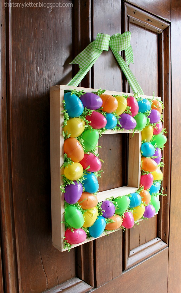 diy plastic egg and scrap wood wreath