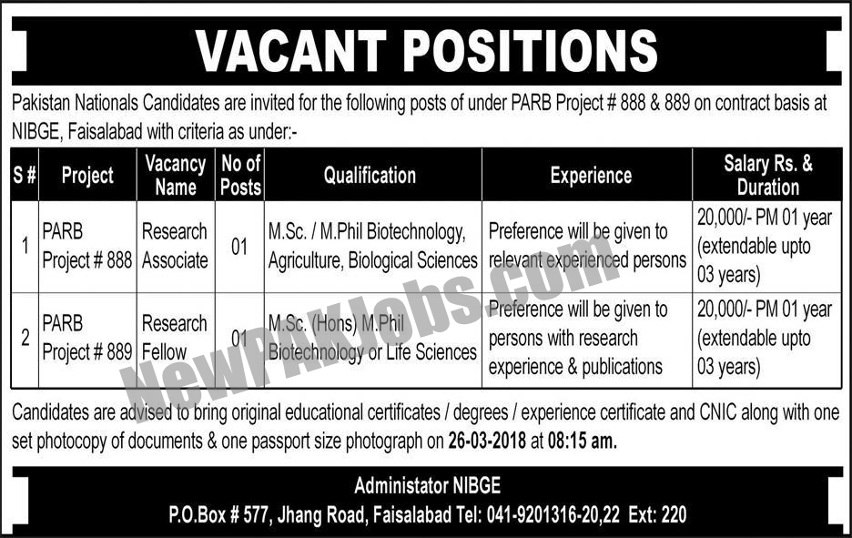 Punjab Agriculture Research Board Faisalabad Jobs March 2018