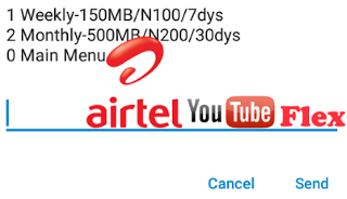 Airtel Youtube Flex- Get 500MB For N200 150MB For N100