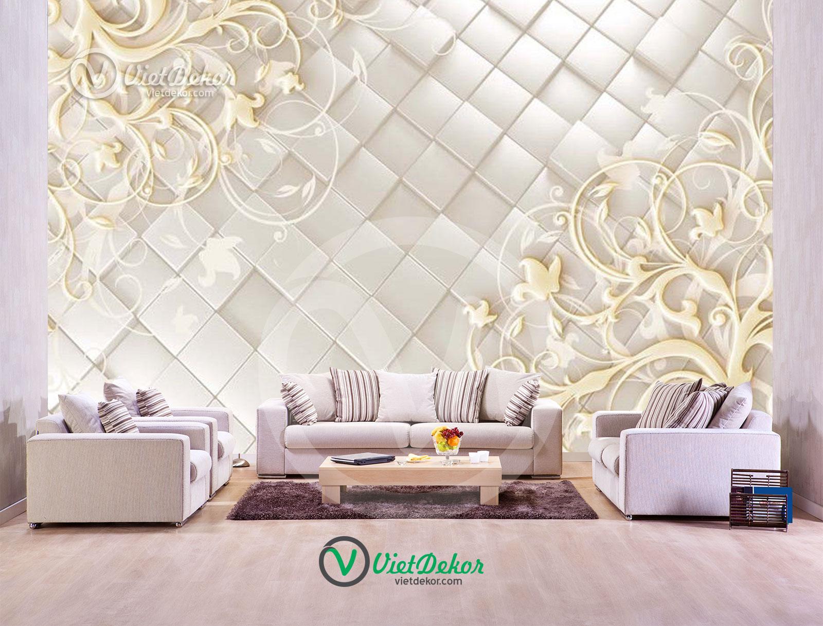 Tranh dán tường 3d hoa nền tường phòng ngủ đẹp