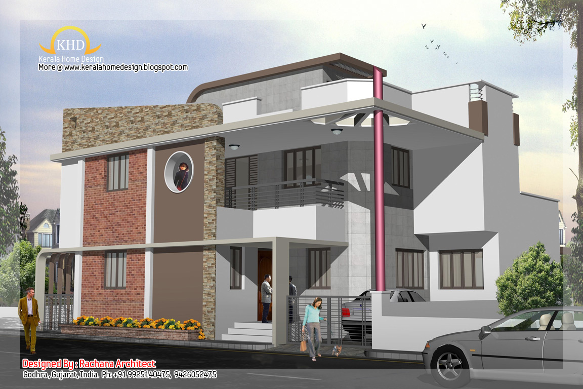 Duplex house plan and elevation 2741 sq ft indian for Duplex images india