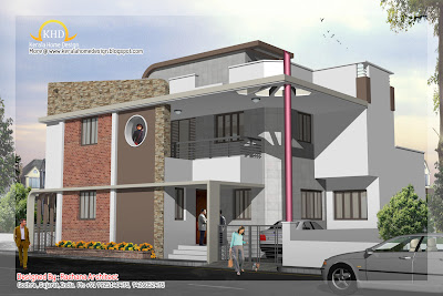 Duplex House Plan and Elevation view- 254 Sq M (2741 Sq. Ft.)