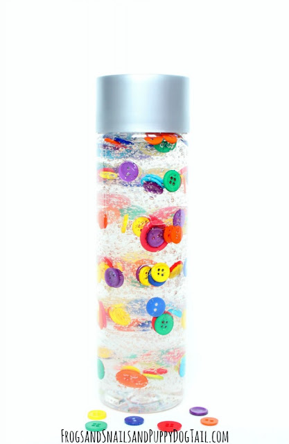 button sensory bottles for babies and toddlers