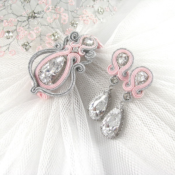 Sutasz ślubny - róż i srebro.