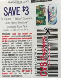 $3/1 Schick Disposable Razor Pack or Skintimate Disposable Razor Pack  3/10 SS
