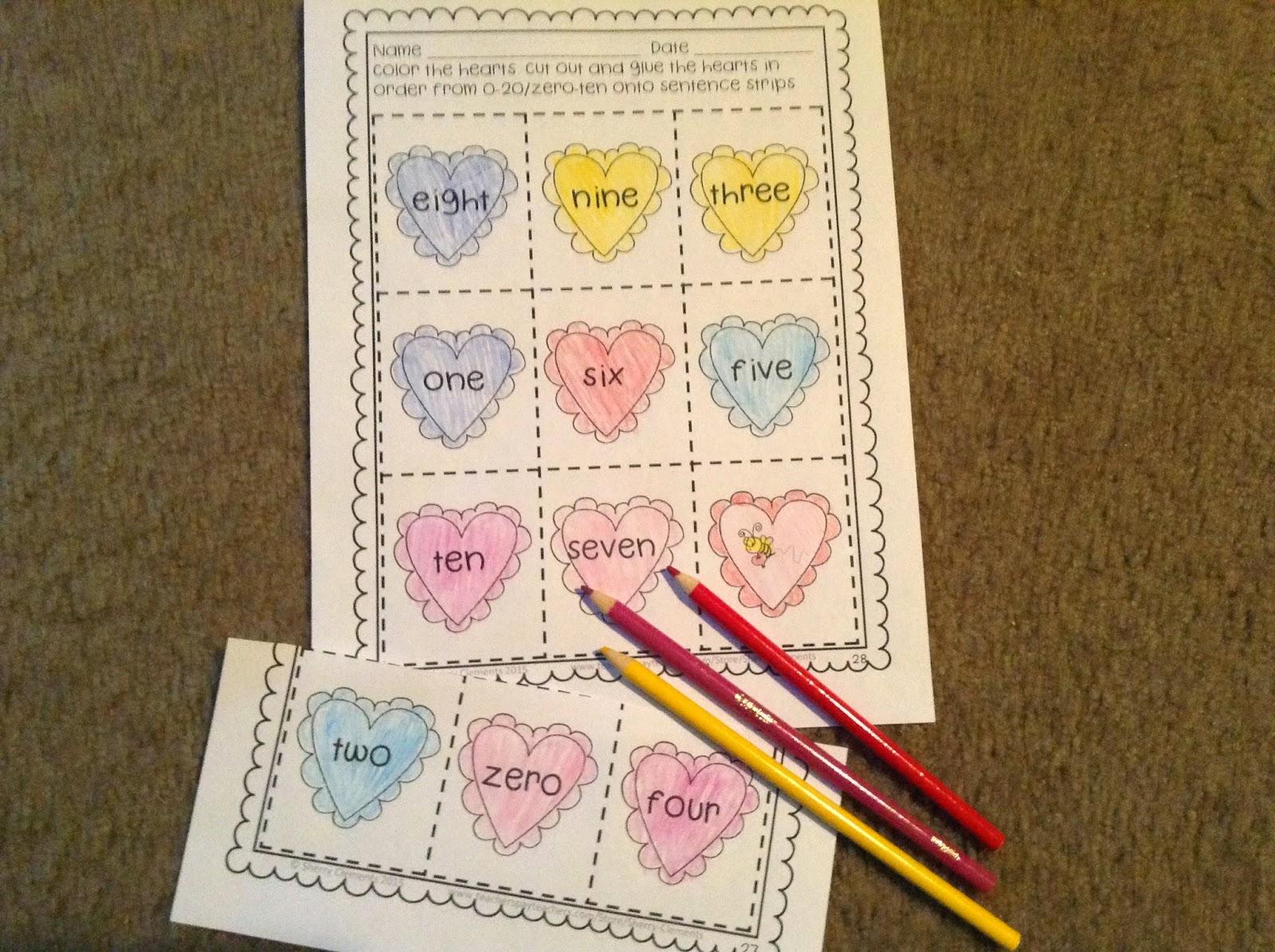 Dr Clements Kindergarten Numbers 0 20 And Number Words Zero Ten Sequencing Hearts