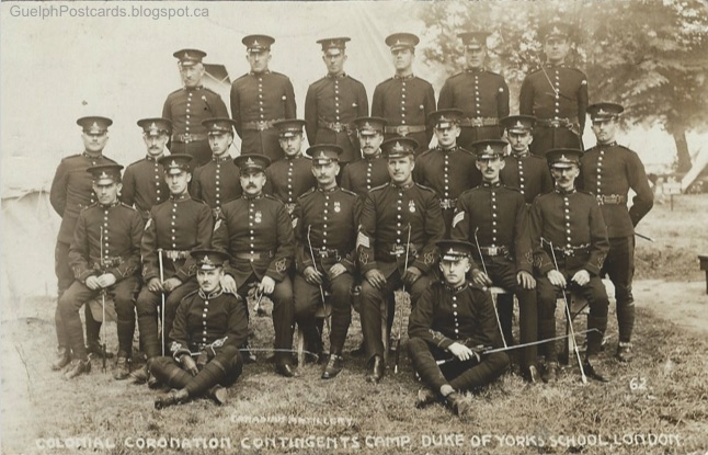 Guelph in postcards 2017 the card was printed by gale polden ltd aldershot portsmouth chatham the caption says canadian artillery colonial coronation contingents camp reheart Gallery