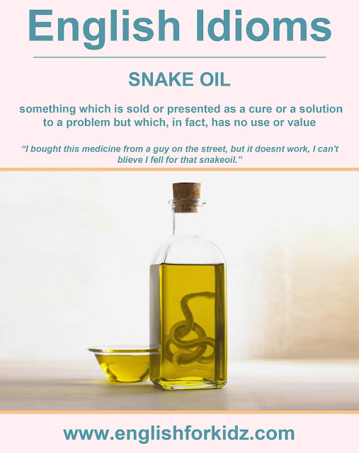 English idiom picture - snake oil