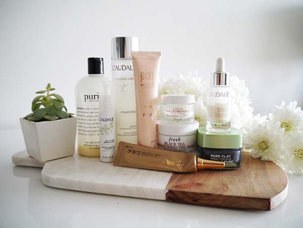 At-home facial routine featuring products from Caudalie, Philosophy, Pixi, Fresh Beauty, The Face Shop, L'Oreal