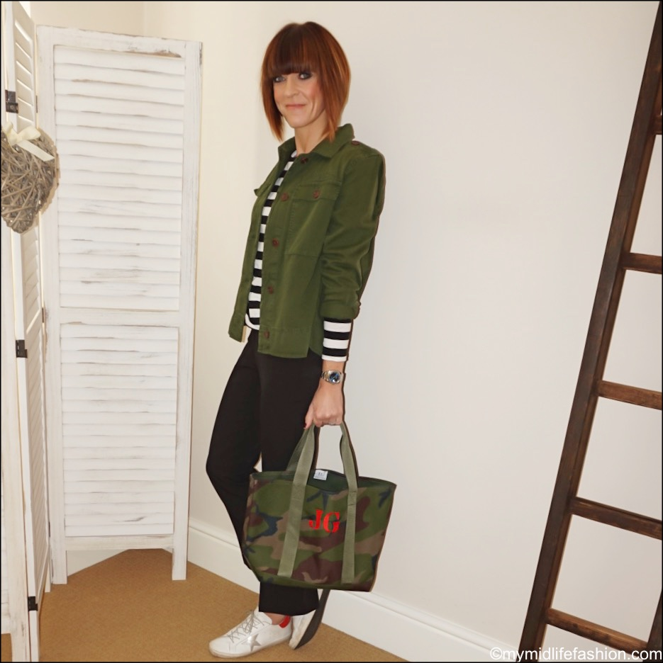 my midlife fashion, matches fashion raey long sleeve stripe crew neck t shirt, j crew overshirt, whistles cropped kick flare trousers, initially london camouflage tote, golden goose superstar low top leather trainers