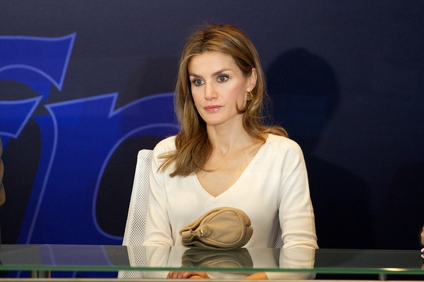 Crown Princess Letizia of Spain attend the Professinal Training opening. Letizia wore Hugo Boss skirt, Mango earrings