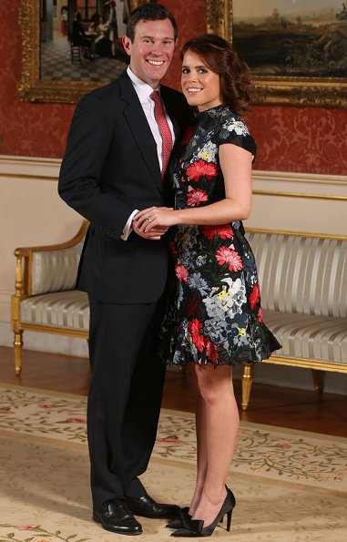 Princess Eugenie wore ERDEM Hetty Embroidered Silk Organza Mini Dress. shoes by Jimmy Choo