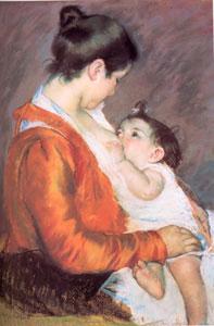 Louise che allatta suo figlio, 1899 di Mary Cassat