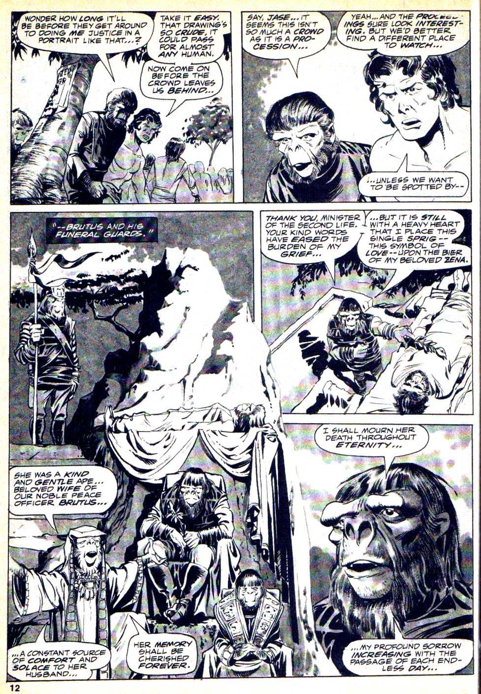 Planet of the Apes v1 #2 curtis magazine page art by Mike Ploog