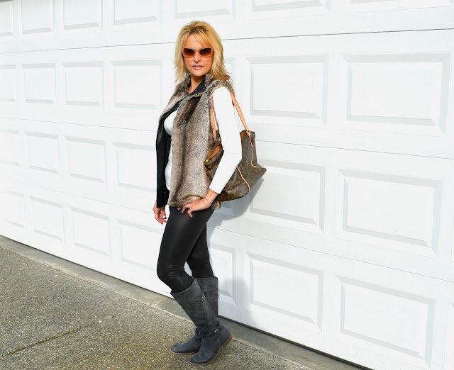 fashion, fashionblogger, fauxfur,leggings, louisvuitton,fiftyandfabulous, ridingboots,seattte