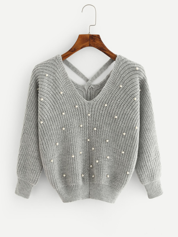 sweater gris perlas