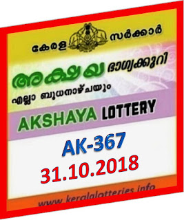kerala lottery result from keralalotteries.info 31/10/2018, kerala lottery result 31-10-2018, kerala lottery results 10-10-2018, AKSHAYA lottery AK 367 results 31-10-2018, AKSHAYA lottery AK 367, live AKSHAYA   lottery AK-367, ,   AKSHAYA lottery results today, kerala lottery AKSHAYA today result, AKSHAYA kerala lottery result, today AKSHAYA lottery result, lottery download, kerala lottery department, lottery results, kerala state lottery today, kerala lottare, kerala today, today lottery result AKSHAYA, AKSHAYA lottery   result today, kerala lottery first prize,