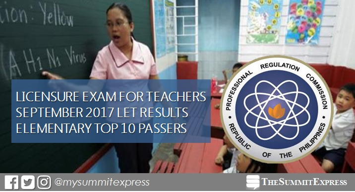 Top 10 Passers Elementary September 2017 LET Teachers board exam