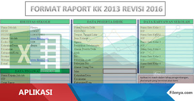 Aplikasi Buku Raport SD Kurikulum 2013 Revisi 2016 Beta 1