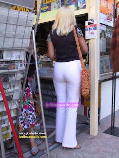 image Leggins blancos transparencia calzon a rayas culazo negra
