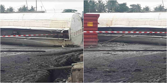 Tanker Loaded With Petrol Falls & Spills Content In Lagos; Apapa Residents Raise Alarm