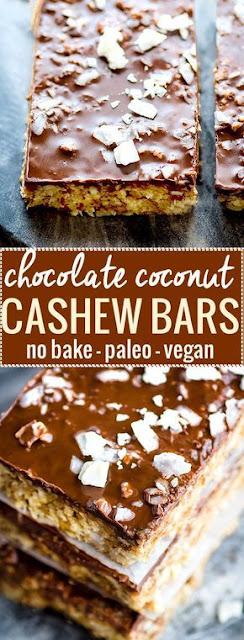 3 Step No Bake Chocolate Coconut Cashew Bars { Vegan, Paleo }
