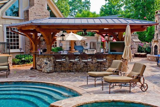 Outdoor kitchen patio and pool; backyard kitchen; backyard kitchen designs; backyard kitchen ideas; backyard kitchen designs; backyard kitchen design ideas; backyard kitchen plans; backyard kitchen pictures; backyard kitchen photos; backyard designs; backyard design ideas; backyard landscaping ideas; backayrd landscape designs; backyard kitchen bar; backyard kitchen design pictures