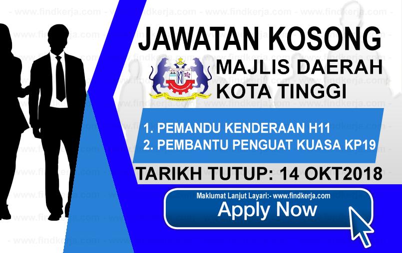 Jawatan Kerja Kosong MDKT - Majlis Daerah Kota Tinggi logo www.ohjob.info www.findkerja.com oktober 2018