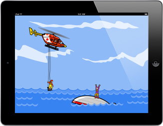 Cartoon graphics of an Rescue Helicopter swooping in with ladder and paramedic ready to save a stranded person standing on an up turned boat in water.