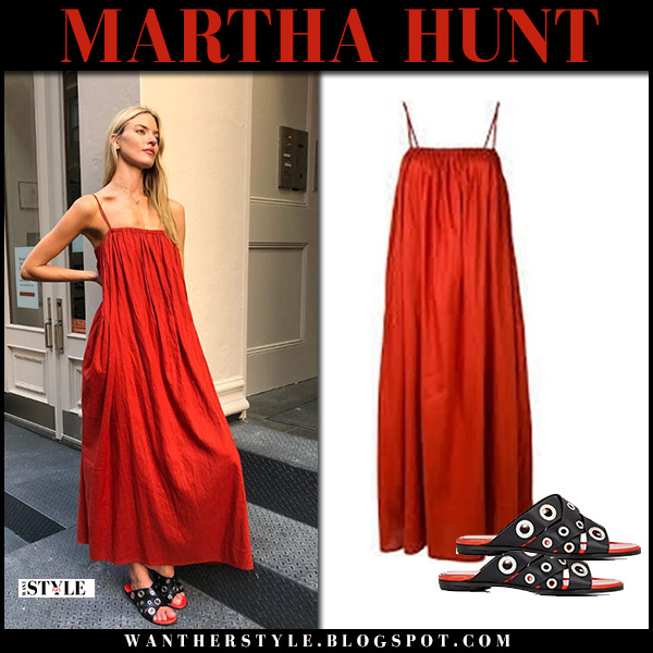 Martha Hunt in red maxi dress toteme and black sandals models summer style august 16