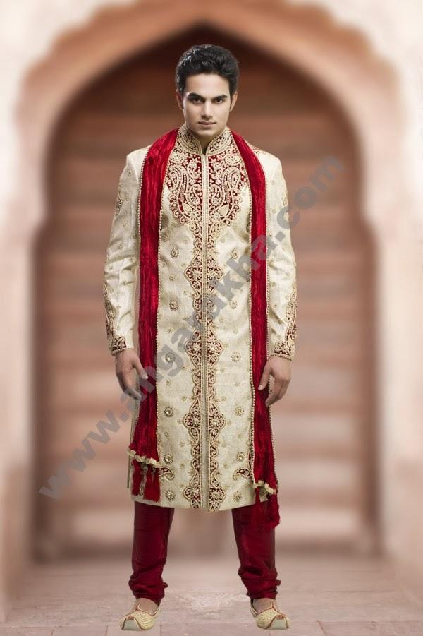 #75 fashion and design sherwanis with sehra and mojari ...