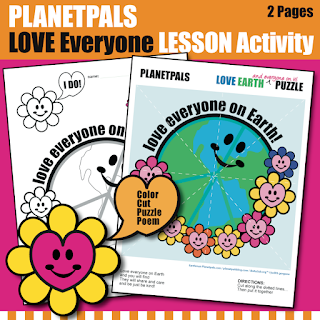 Valentine LOVE Everyone on Earth Planetpals Coloring Activity, Poem, Cut and Play Puzzle