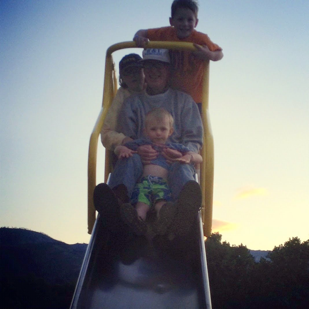 Behold My 795 Year Old Dad On The Top Of A Slide With His Two Grandsons And Mom Says This Is First Hes Been Down In 75 Years