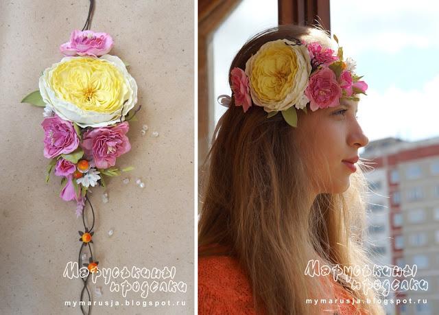 искусственные цветы на голову