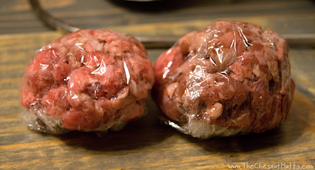 Making meatball portions for the raw food