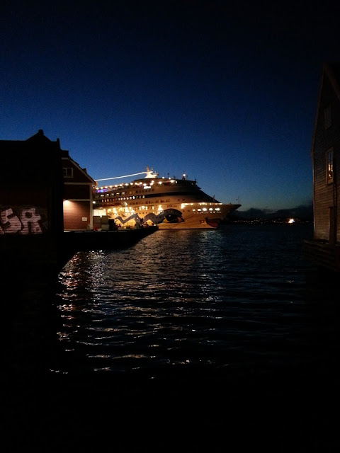 Cruise ship AIDAcara at night in Bergen Norway