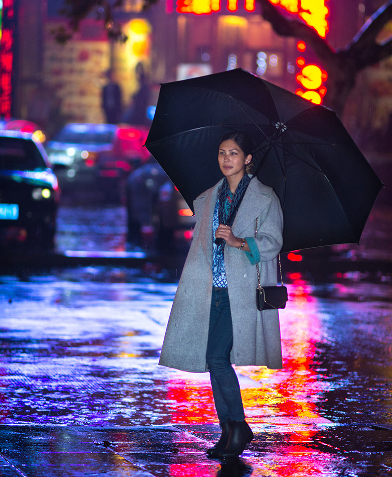 Euriental | fashion & luxury travel | rain boots and oversized grey coat in Shanghai