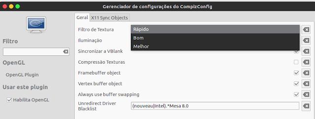 OpenGL configuration in Compiz