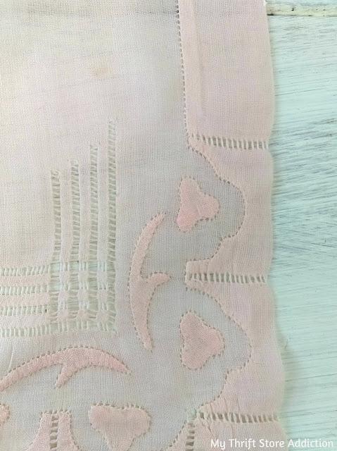 vintage pink linen hankie